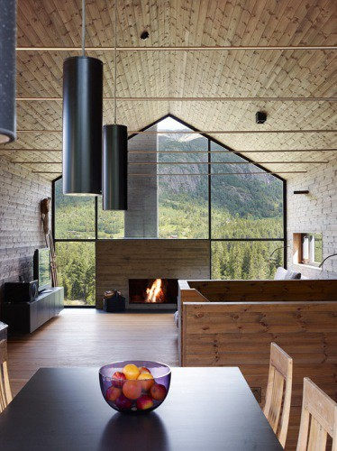 Home Style Fireplace In A Wall Of Windows Heather Zerah